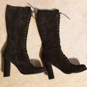 Jessica Bennett corset suede boots